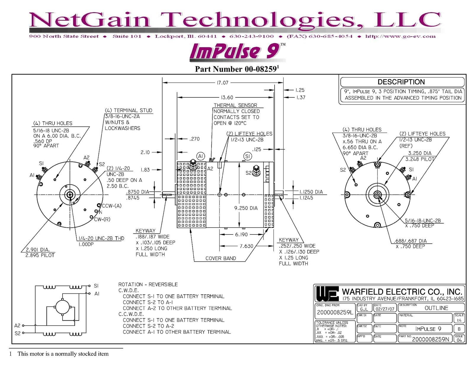 Netgain Impulse 9 Series Dc Motor Suitable For Vehicles Up To 1200kg Wiring Diagram Wound 290000
